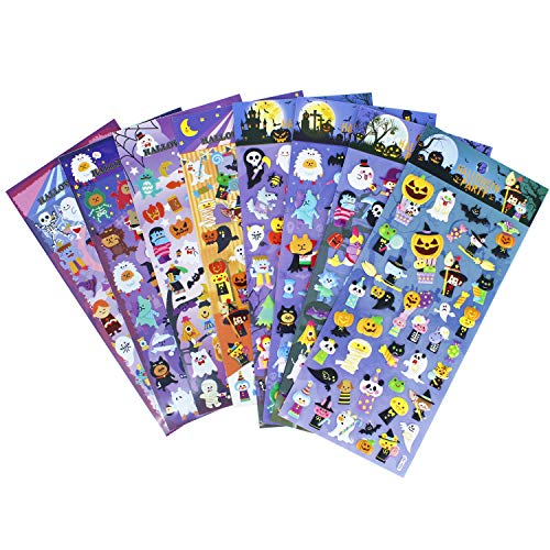 Happy Halloweens Stickers 8 Sheets with Ghost, Pumpkin, Demon, Wizard, Mummy, Vampire, Witch, Skull, Bat, Spider Stickers Decals for Jack O Lantern Scrapbooking Kids Party Favors - 320 Stickers