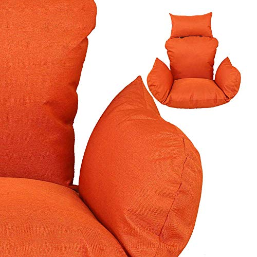 Yxxc Hanging Basket Pp Cotton Filled Chair Pads, Large Seat Cushion Hanging Egg Chair Cushion Swing Chair Pad Cradle Chair mat Linen Fabric-orange Cloth+ Liner + Filler