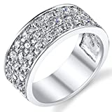 Sterling Silver Men's Wedding Band Engagement Ring With Cubic Zirconia CZ 9MM 3 Row Size 12