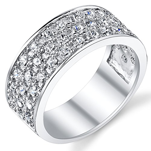 Ultimate Metals Co. Sterling Silver Men's Wedding Band Engagement Ring with Cubic Zirconia CZ 9MM 3 Row Size T 1/2