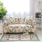 HYSENM 1/2/3/4 Sitzer Sofabezug Sofaüberwurf Stretch weich elastisch farbecht Blumen-Muster, Beige 1 Sitzer 85-140cm - 4