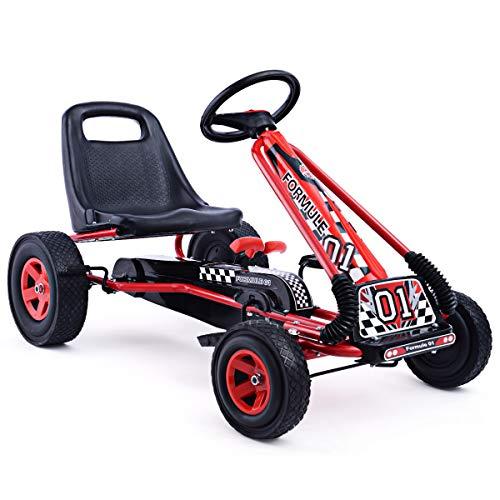 HONEY JOY Pedal Go Kart, Kids 4 Wheels Quad Kids Ride On Toy with Adjustable Seats, Brake, Clutch, EVA Rubber Tires, Steering Wheels, Outdoor Racer Pedal Car for Children Boys & Girls (Red)