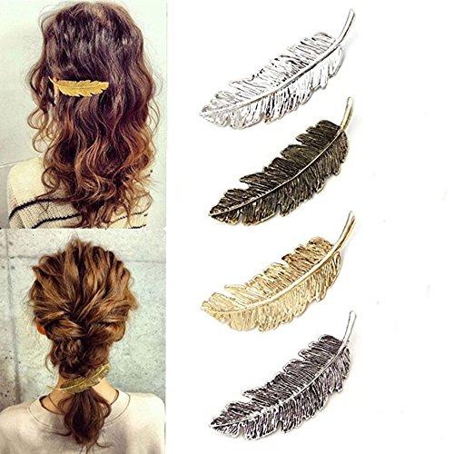Vintage Overdreven Legering veer Haarspeld, 4 Stuks Set Boom Blad Kant Haar Pin Clip, Paardenstaart Houder voor Vrouwen en Meisjes Styling Accessoires