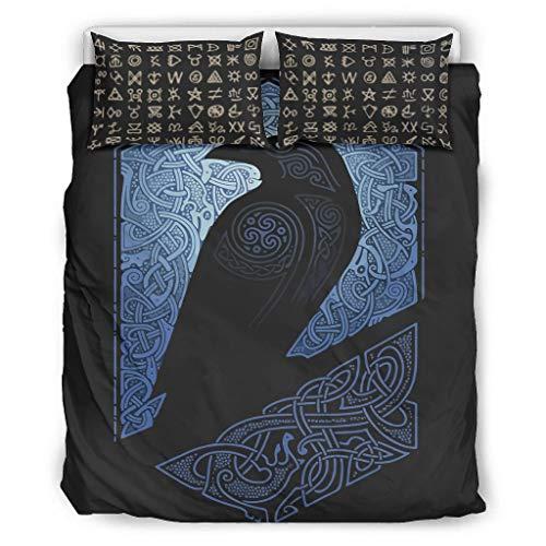 CATNEZA Bettdecke Tröster Set Mikrofaser - Viking 3-Teiliges Bettbezug-Set für Jungen Schlafzimmer White 168x229cm