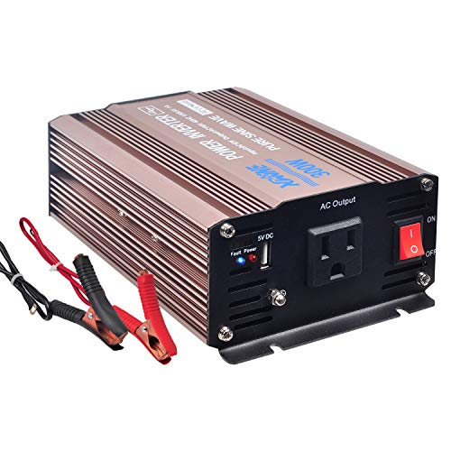 XWJNE 300 Watts Power Inverter 12V to 110V Pure Sine Wave Car Plug Inverter Adapter Power DC to AC Converter with 4.2A USB Charging Ports and AC Outlets Car Charger