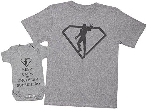 Keep Calm My Uncle is A Superhero - Ensemble Père Bébé Cadeau - Hommes T-Shirt & Body bébé - Gris - Medium & 3-6 Mois