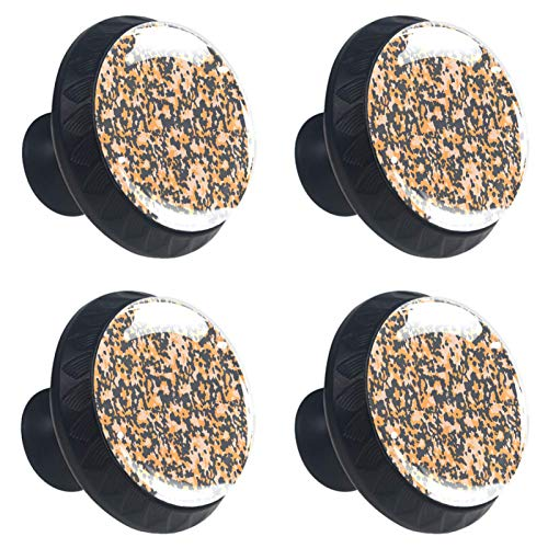 KAMEARI Military Soldier Camouflage Pattern 4 Pieces Drawer Knobs Pull Handle Crystal Glass Circle Shape Cupboard Drawer Handles with Screws for Home Kitchen Office