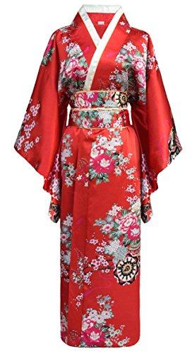 Laciteinterdite Japanischer Geisha Kimono rot mit Obi-Gürtel