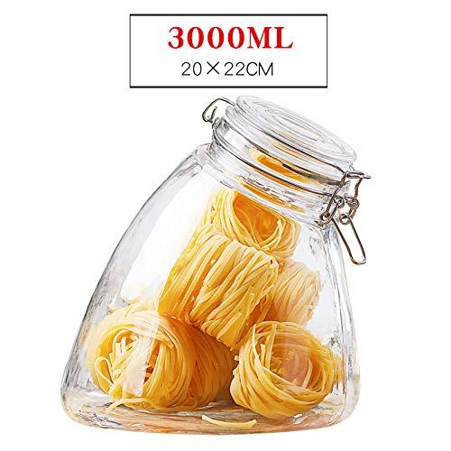 hmjsmj Glas versiegelt Glas, eingelegte Zitrone, Fenchel, Honig, transparente Lebensmittel, Milchpulver versiegelt Glas, 1PCS 20x22cm3000ML