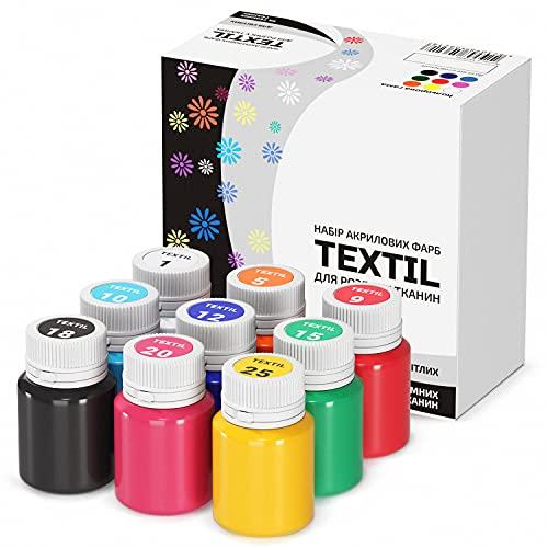 Stofffarben Textilfarben Acrylfarben Set Waschfest 9 Farben x 20 ml Stoffmalfarben Textilmalfarben Flüssig Wasserfest Waschmaschinenfest für Dunkle und Helle Stoffe