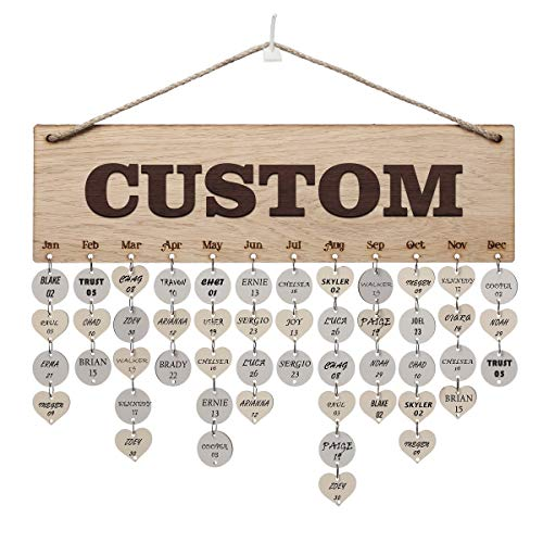 Weenca 3D Oak Veneer Wall Hanging Family & Friends Birthday Calendar with Tags Rustic Wall Decor Easy to Assemble for Mom & Family Lovely Wall Decor for Sweet Home (Custom Text)