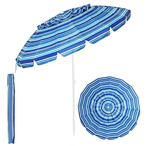 Tangkula 8FT Beach Umbrella, Portable Beach Umbrella W/Sand Anchor & Tilt Mechanism, 16 Sturdy Fiberglass Ribs, Outdoor Sunshade Umbrella W/Carrying Bag for Garden, Patio, Beach, Outdoor (Navy Blue)