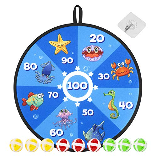 Dart Toys for Kids, Indoor Outdoor Sport Games and Activity, Safe Dart Board Set with 9 Sticky Balls, Best Gift Idea for Boys Girls Ages 3 Year Old and Up, Toddler Activity(14 Inches)
