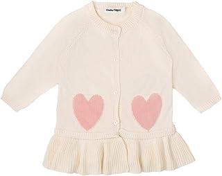 Baby Mood Cardigan Chaud 100 % coton avec volant en tricot travaillé et motifs en cœur, fermeture avec boutons et col rond