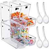 VEVOR Stackable Candy Topping Dispenser, 4PCs/Set Acrylic Candy Bin, 11x4x7-Inch Bulk Candy Bin with Magnetic Hinged Door, Mini Candy Dispenser with Scoop, Holds 1.2Gal x 4 of Dry Foods, Cereal, Pasta
