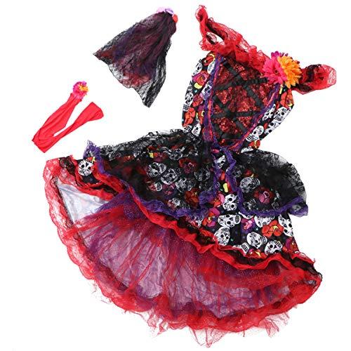 SOIMISS Dia de Los Muertos Dia de Los Muertos Disfraz de Calavera de Azcar Vestido de Fiesta de Calavera Vintage para Mujer