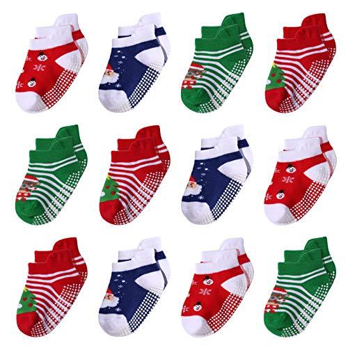 IMIVIO Christmas Socks Anti Slip Ankle Socks for Baby Toddler Boys Girls 12-24 Months 2T-3T