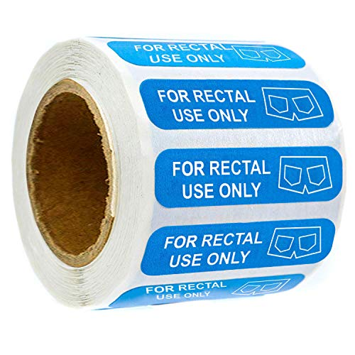 """""""for Rectal Use Only"""" Stickers-1.5""""X3/8"""" Blue Permanent Adhesive Labels - Pack of 500"""