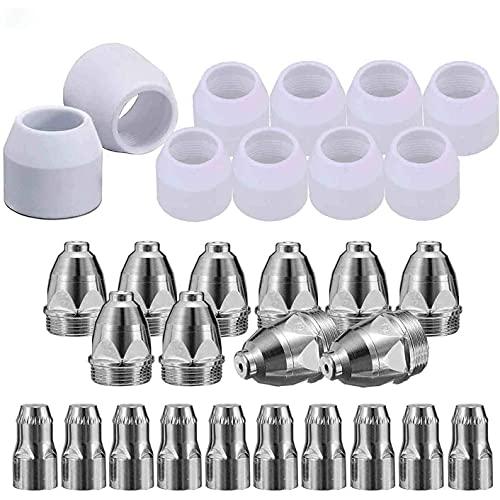 DealMux 30 piezas P80 kit de consumibles de corte por plasma, boquilla de plasma, electrodo, antorcha de máquina de corte por plasma de corte P-80 de 1,5 mm