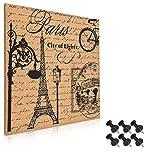 Navaris tablero de corcho con Torre Eiffel - Pizarra de corcho de 40x40CM - Tablón para colgar anuncios con 6 chinchetas y set de montaje