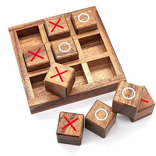 Holz Tic Tac Toe Spiel Couchtische Familienspiele zu spielen und ein klassisches Spiel Holz XOXO Brettspiel Spielzeug, Joyful Educational Toy ideal für Game Nights für Kinder & Familie