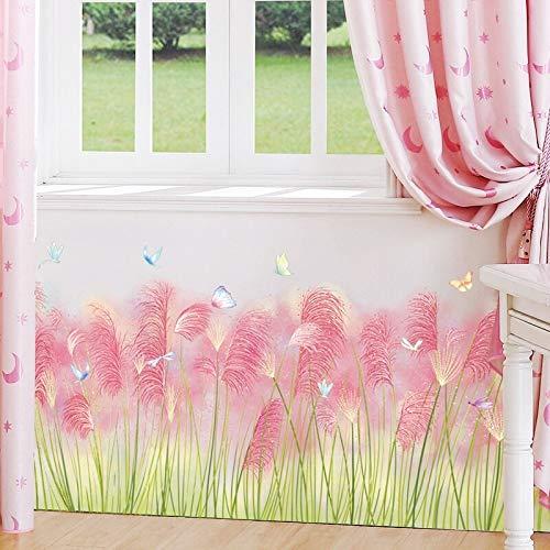 Kswlkj - Adhesivo decorativo para pared, diseño de zócalo de hierba rosa