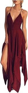 Women Long Dress Daoroka Sexy Deep V Neck Backless Strap Irregular Hem Evening Party Cocktail Casual Beach Sundress (M, Red)