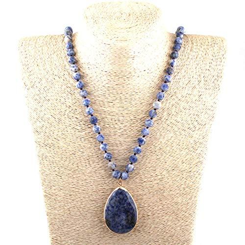 WDam Moda Bohemia Piedra Natural Tejida Piedra a Juego Collares con Colgante de Gota Collar de Cuentas de Mujer, Azul Oscuro, 86 cm