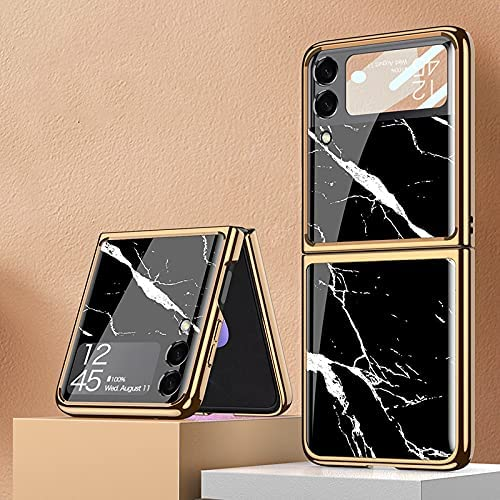 DEMCERT for Samsung Galaxy Z Flip 3 5G Case, Ultra Thin Hard 9H Plating Glass Shockproof Phone Cover for Samsung Galaxy Z Flip 3 5G (Marble)
