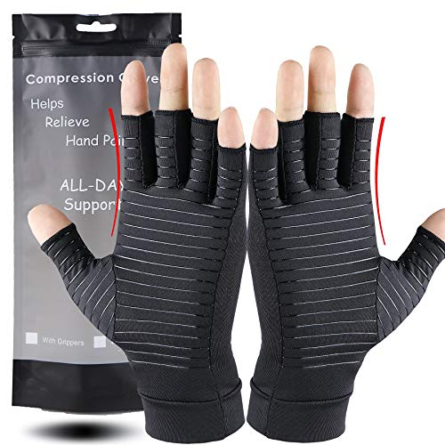 Compression Gloves with Copper for Arthritis Rheumatoid,Relief Pain and Swelling,Osteoarthritis & Tendonitis - Copper Arthritis Gloves for Women and Men (Pair)(Black, M)