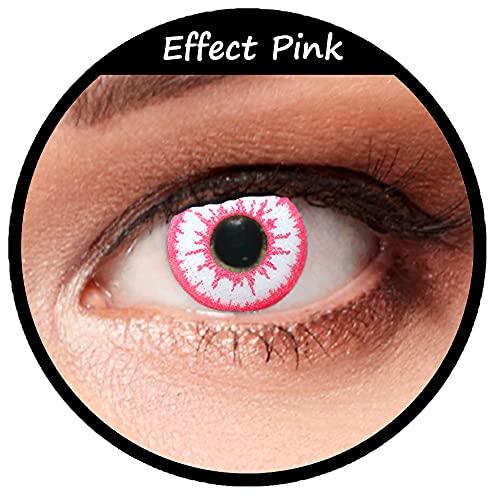 Weiß pinke farbige Kontaktlinsen ohne Stärke für Halloween Karneval Zombie Farblinsen in weiß Design: Pink Effect