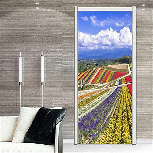 CURTAINSCSR Mural de puerta de color pastoral adhesivo de pared para decoración del hogar, pegatinas de papel autoadhesivo para decoración de pared, p...