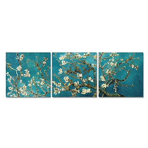 3パネルアーモンドブロッサムキャンバスアート絵画家の壁の装飾印象派花キャンバスプリントリビングルーム用Cuadros 40x40cm(15.7x15.7インチ)フレームなし
