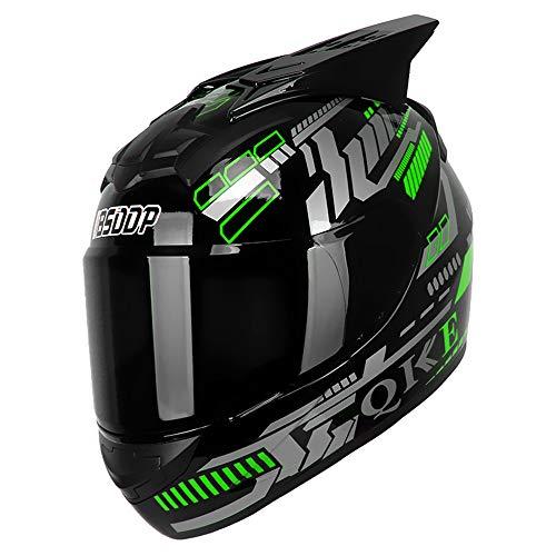KKoom Casco Modular Moto DOT Homologado Casco Integral Transpirable Universal Para Hombre Mujer para Ciclismo Motocicleta Bici Carrera(Verde)