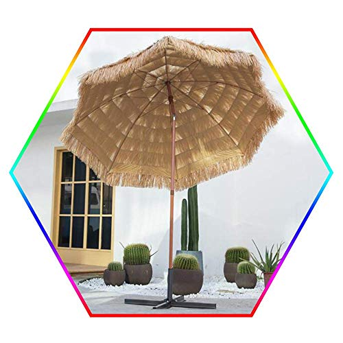 2.4m/8ft Beach Patio Garden Hawaii Sun Umbrella Natural Color with Push Button Tilt/Crank - without Bases
