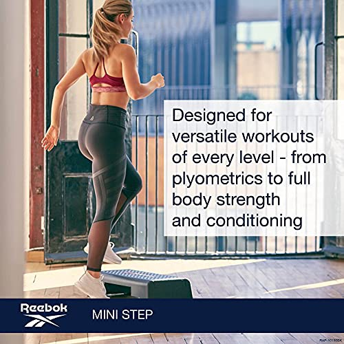Reebok Mini Workout Step Platform - Aerobic Step with Resistance Tube Attachment Slot - Great for All Fitness Levels - Durable Circuit Size Aerobic Stepper - Ideal for Home or Studio Exercise