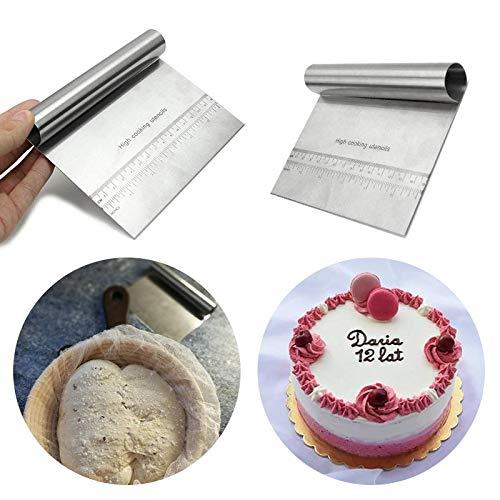 Bench Scraper - Stainless Steel Pastry Dough Cutter Bread Cake Scraper Fondant Decoration Spatula - Spatula Bread Bread Scraper Spatula & Roll Pastry Mold Baking Knife Dough Tool Bread B