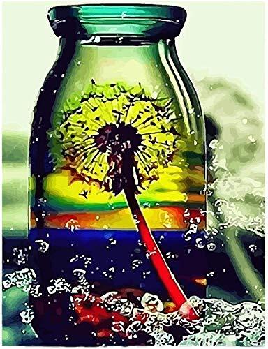 Pintura por números Diente de león en la botella juego de pintura al óleo para adultos, principiantes y niños, juego de regalo preimpreso con 4 pinceles y pigmentos acrílicos, decoración del hoga