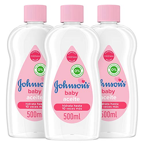Johnson's Baby Aceite Regular, Deja la Piel Suave y Sana, Ideal para Pieles Delicadas, 3 x 500 ml