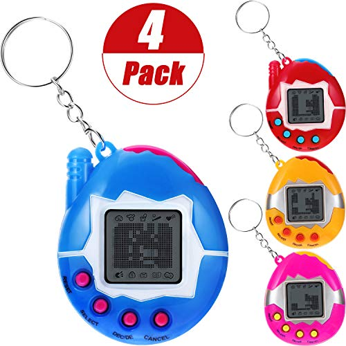 Gejoy 4 Pieces Virtual Pet Keychain Electronic Pets Keychain Digital Pets Keychain Electronic Digital Pet Game Keyring, Red, Pink, Yellow, Blue