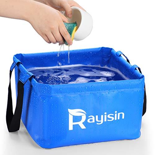 Raiyisin - Cuenco plegable para exteriores, 15 L, plegable, para camping, hecho de lona resistente, ahorra espacio, cuenco y fregadero plegable para lavar platos, pescar, enfriar