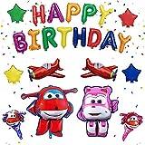 Super Wings Jett Globo aerostático, NALCY Super Wings Balloon Jett Balloons, Decoraciones Cumpleaños de Fiesta para Niños, Suministros de Cumpleaños Individuación para Niños Niñas (23 Pcs)