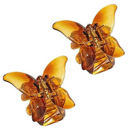 バタフライクリップ 2個セット 蝶 クリップ 髪飾り ヘアクリップ 髪 ヘアアクセサリー バンスクリップ まとめ髪 髪留め 前髪クリップ (コーヒーゼリー)