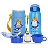 Kids Water Bottle with Straw Thermoses Stainless Steel Insulated Vacuum Flask Bottles BPA Free Spillproof Thermal Water Cup with Pouch for Travel, School, Outdoor Activities 550ml/ 15oz, Blue