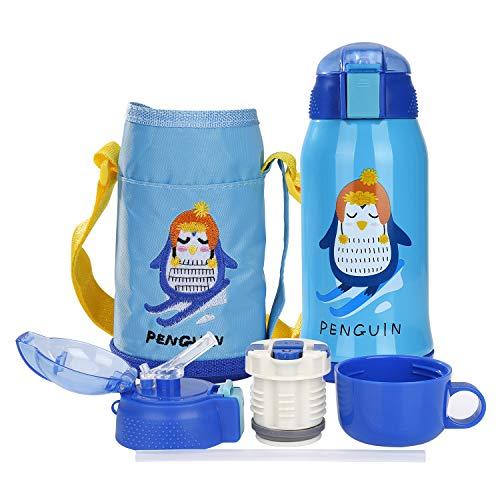 Borraccia per Bambini con Cannuccia, Acciaio Inox Vuoto Bottiglia per l'acqua Termica Adatto, termos 550ml/ 15oz per Campeggio, Viaggio, Picnic, Scuola, BPA Free, Blu