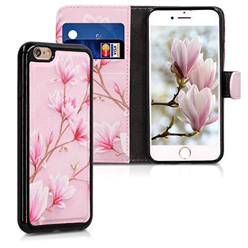 kwmobile Funda Compatible con Apple iPhone 6 / 6S - Carcasa de Cuero sintético y Cover extraíble Magnolias