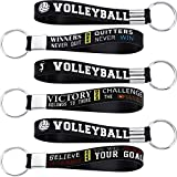 24 Pieces Volleyball Wristlet Keychain Silicone Volleyball Keyrings with Motivational Quotes Inspirational for Sports Party Favor Volleyball Gifts