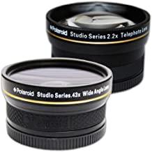 PLR Studio Series .43x High Definition Wide Angle Lens With Macro Attachment + PLR Studio Series 2.2X High Definition Telephoto Lens Travel KitFor The Nikon D5300, D5000, D3000, D3300, D3200, D5100, D5200, D3100, D7000, D7100, D750, D4, D800, D800E, D810, D600, D610, D40, D40x, D50, D60, D70, D80, D90, D100, D200, D300, D3, D3S, D700, Digital SLR Camerass Which Have Any Of These (18-55mm, 55-200mm, 50mm) Nikon Lenses