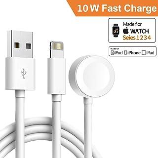 iPhone 充電器, Apple Watch 充電器, 2 in 1 マグネティック iWatch 充電器。3.3ft/1.0m ライティングケーブル付き、 Apple Watch4/3/2/1 シリーズ、iPhone XR/XS/XS Max/X/8/8Plus/7/7Plus/6/6Plus/iPad4に適用