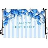 MEHOFOTO - Fondo de fotos con diseño de rayas azules y blancas, globos azules y plateados para decoración de fiesta de cumpleaños, 2,2 x 1,5 m